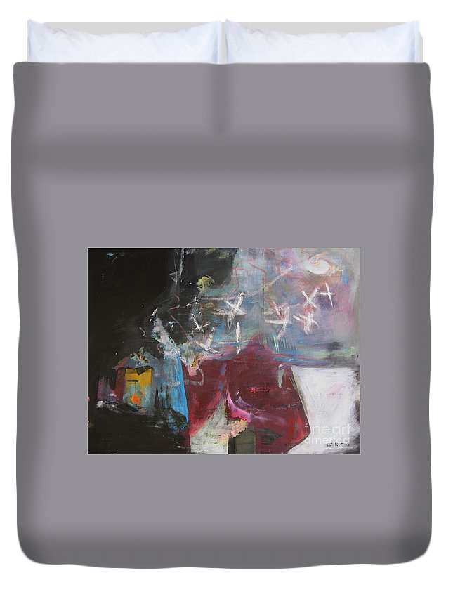 Abstract Paintings Duvet Cover featuring the painting A Short Story by Seon-Jeong Kim