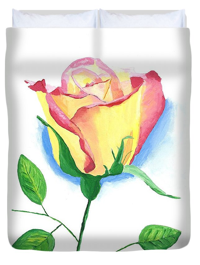 Rose Duvet Cover featuring the painting A Single Rose by Rodney Campbell