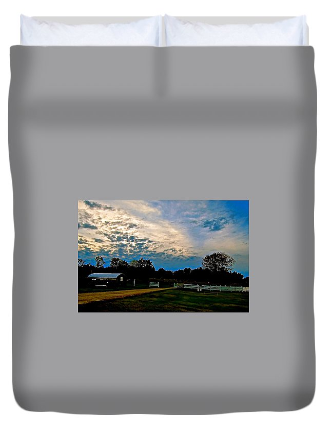 Turquoise Sky Duvet Cover featuring the photograph A Sky Like Turquoise And Mother Of Pearl by Elizabeth Tillar