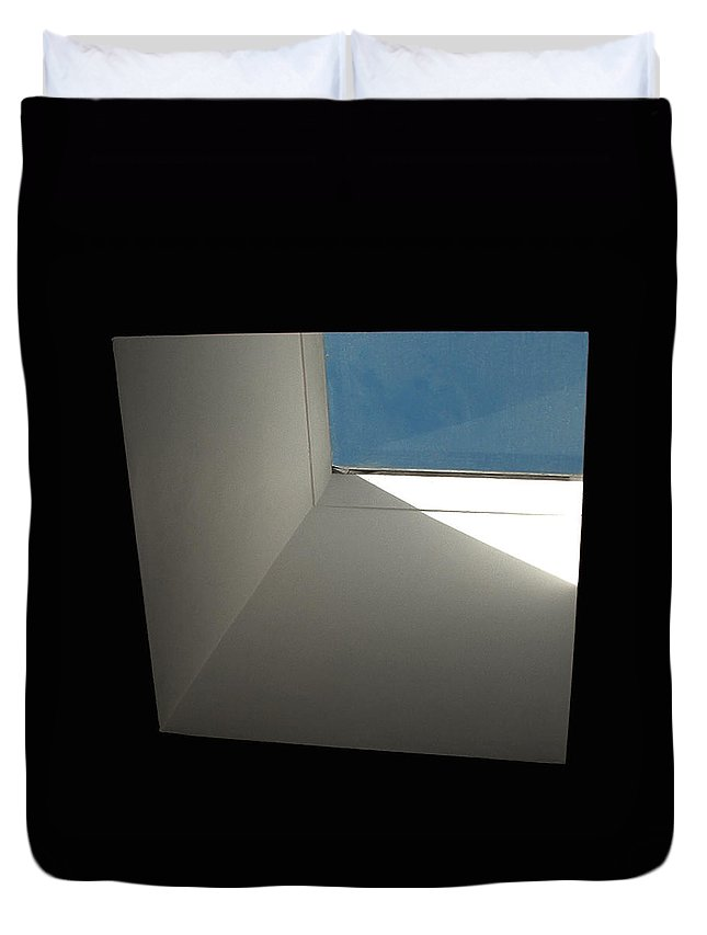 Fenestration Duvet Cover featuring the photograph A Skylight Shaft by Stan Magnan