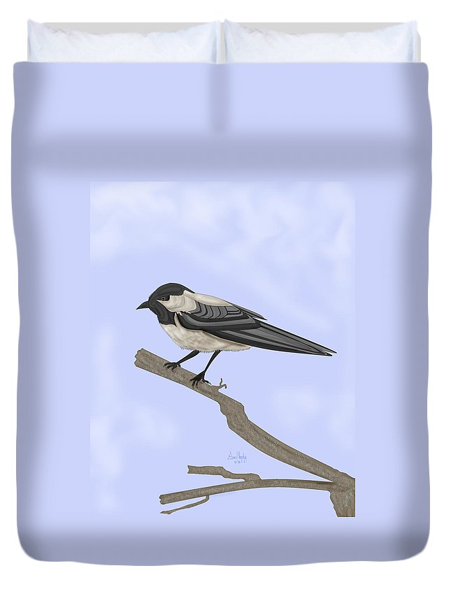 Bird Duvet Cover featuring the painting A Small Guest by Anne Norskog