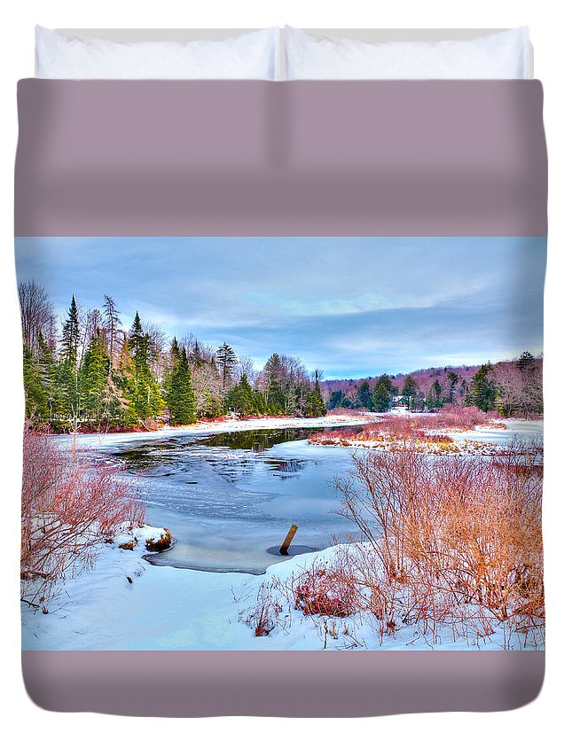 A Snowy Moose River Duvet Cover featuring the photograph A Snowy Moose River by David Patterson