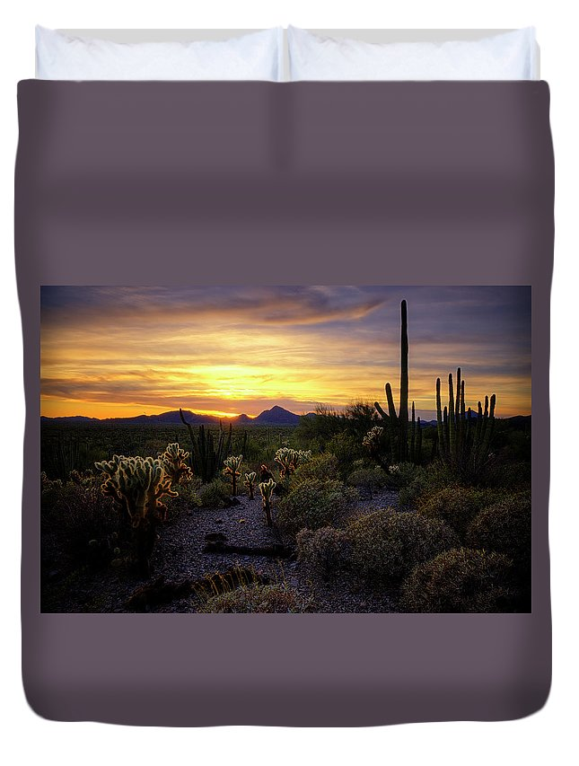 Sunset Duvet Cover featuring the photograph A Southern Arizona Sunset by Saija Lehtonen