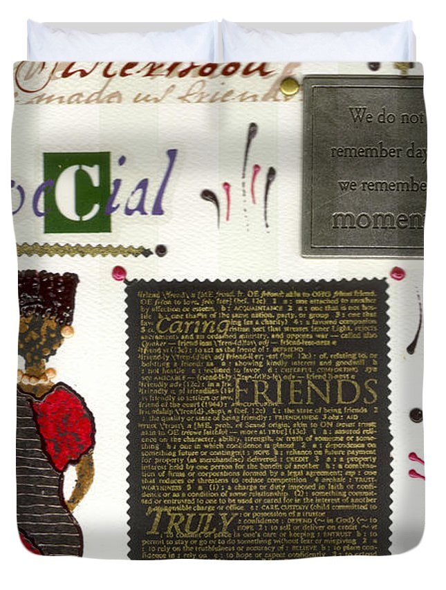 Gretting Cards Duvet Cover featuring the mixed media A Special Friend by Angela L Walker