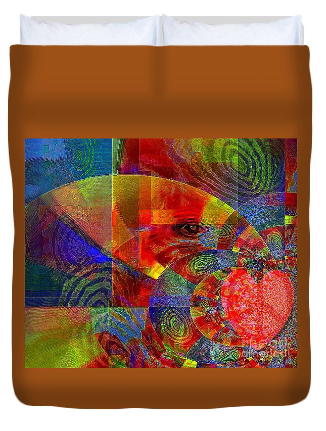 Fania Simon Duvet Cover featuring the mixed media A Special Kind Of Love by Fania Simon