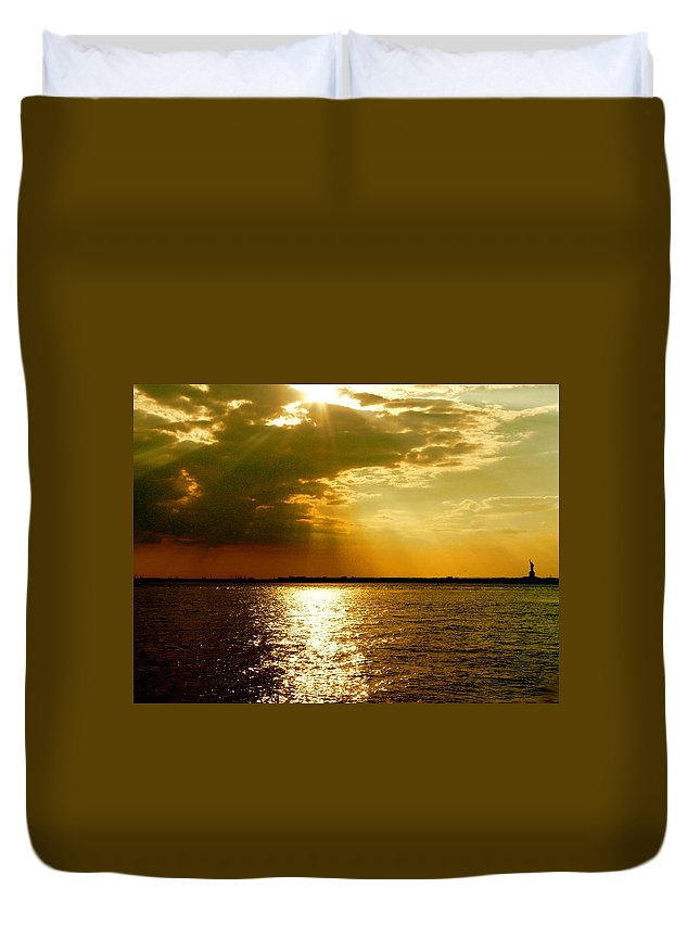 Gold Duvet Cover featuring the photograph A Spiritual Sunday by Kendall Eutemey