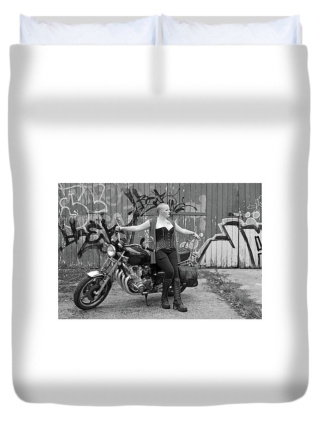 Duvet Cover featuring the photograph A Splash Of Monochrome by Richard Gibb