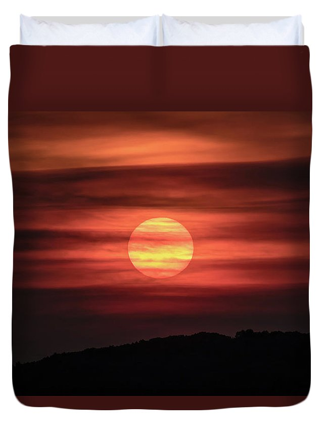 Sunset Duvet Cover featuring the photograph A Splash Of Orange by Ronald Raymond
