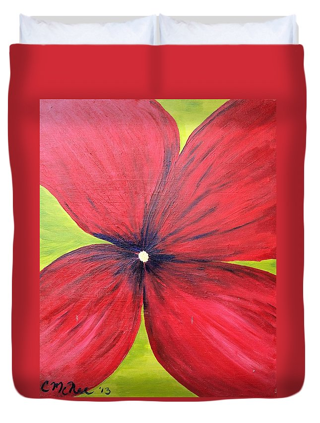 Flowers Duvet Cover featuring the painting A Splash Of Red by Christina McNee-Geiger