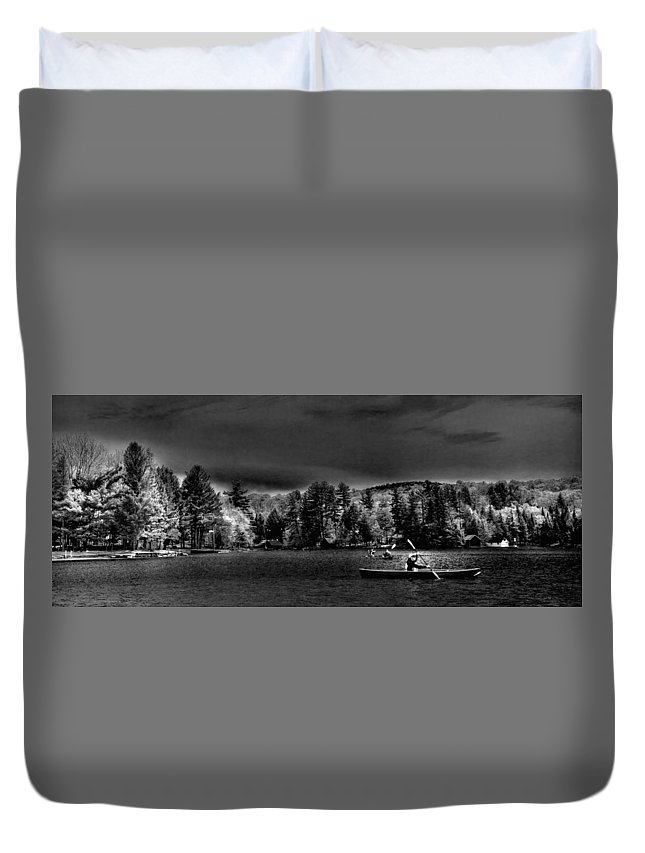 A Spring Day On Old Forge Pond Duvet Cover featuring the photograph A Spring Day On Old Forge Pond by David Patterson