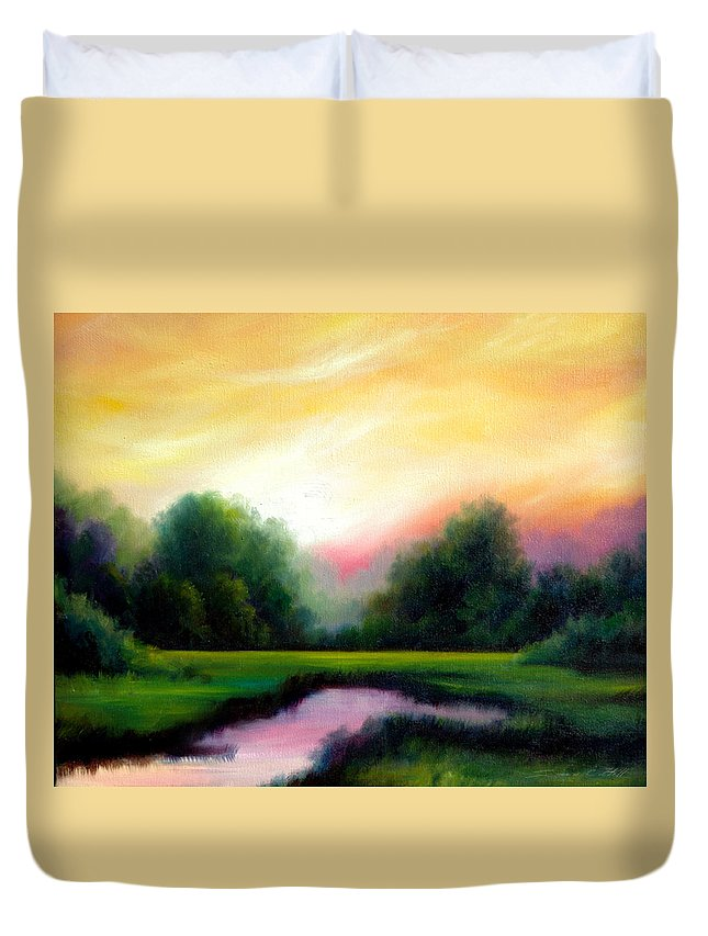 Clouds Duvet Cover featuring the painting A Spring Evening by James Christopher Hill