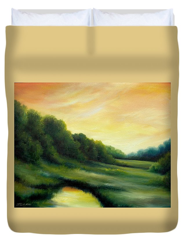 Clouds Duvet Cover featuring the painting A Spring Evening Part Two by James Christopher Hill