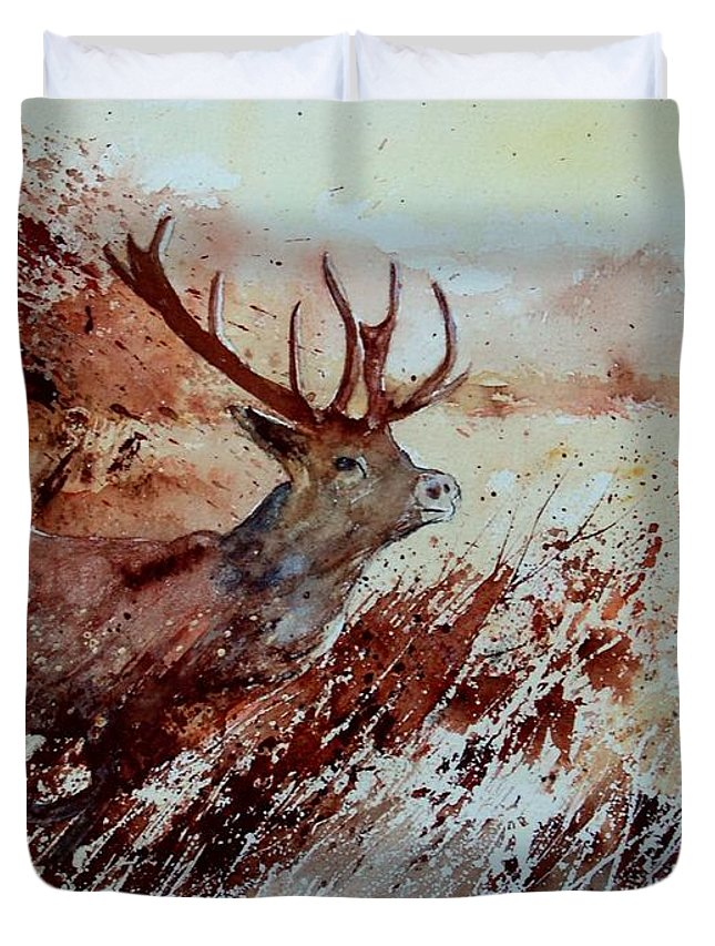 Animal Duvet Cover featuring the painting A Stag by Pol Ledent