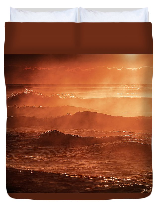 Landscape Duvet Cover featuring the photograph A Steaming Sunrise Over Black Sea by Dan Cristian Mihailescu