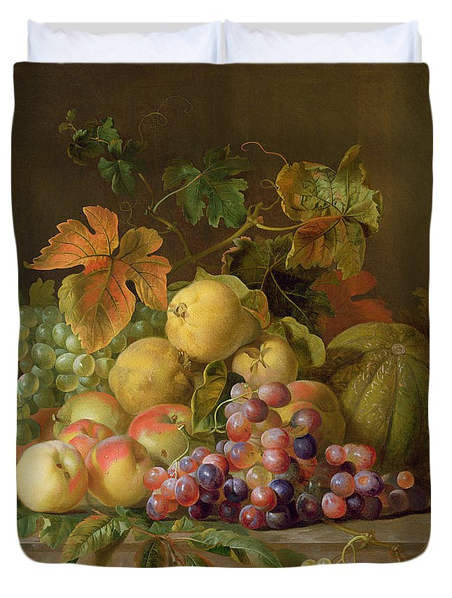 Still Duvet Cover featuring the painting A Still Life Of Melons Grapes And Peaches On A Ledge by Jakob Bogdani