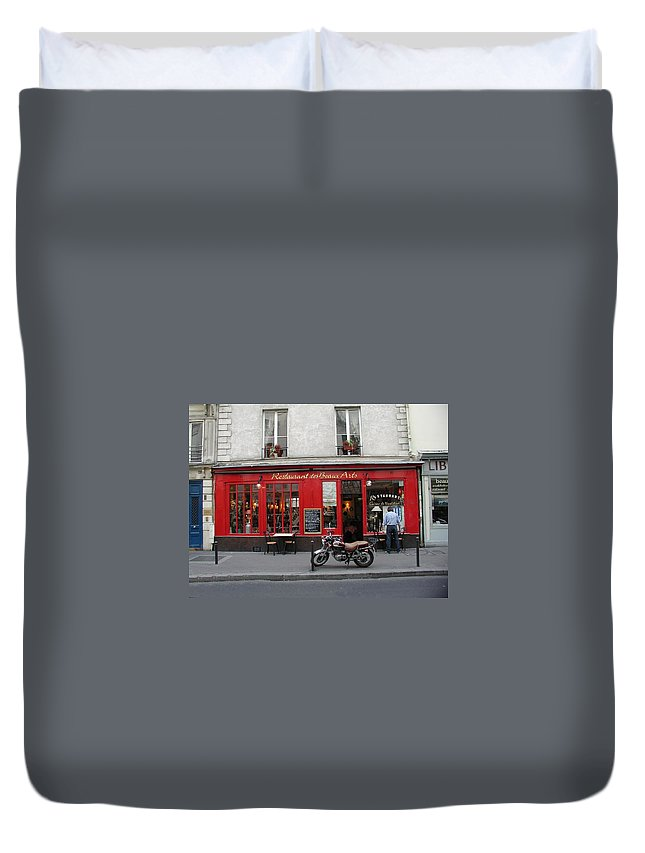 Red Duvet Cover featuring the photograph A Stop Along The Journey by Tom Reynen
