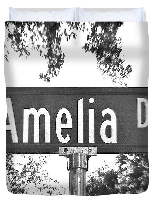Duvet Cover featuring the photograph Am - A Street Sign Named Amelia by Jenifer West