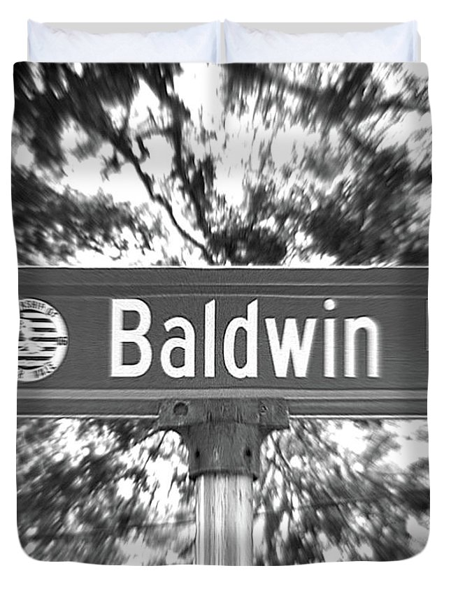 Duvet Cover featuring the photograph Ba - A Street Sign Named Baldwin by Jenifer West