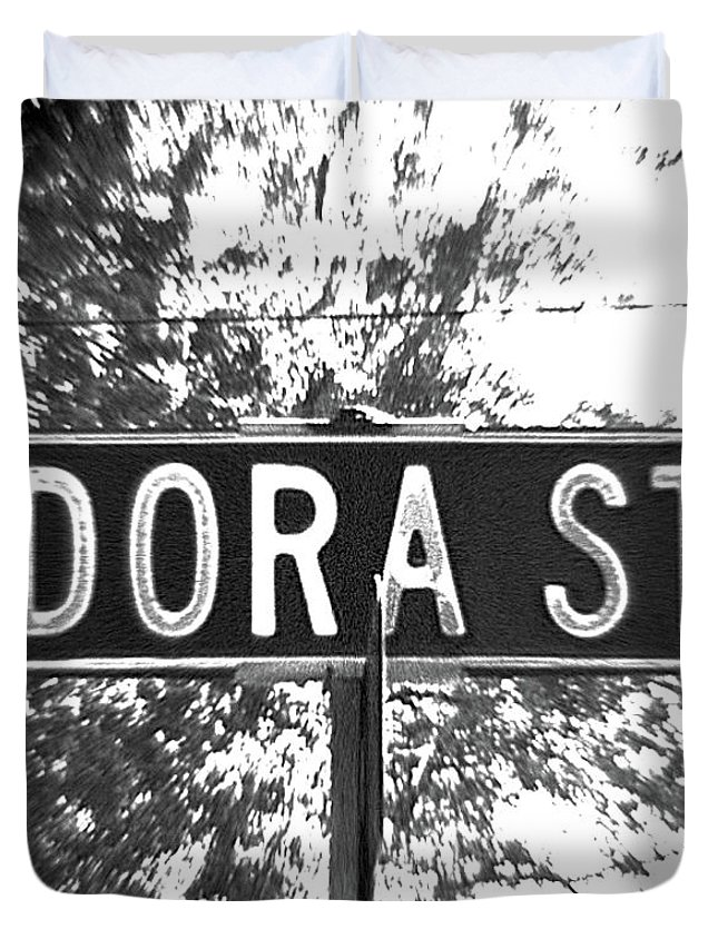 Duvet Cover featuring the photograph Do - A Street Sign Named Dora by Jenifer West