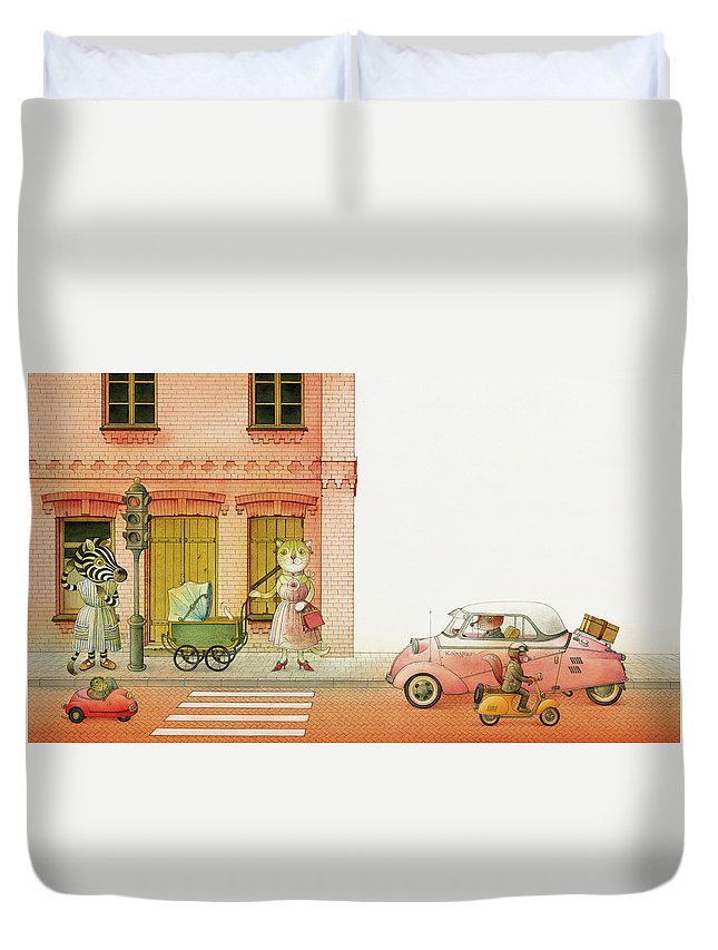 Striped Zebra Cat Cars Street Traffic Old Town Red Children Illustration Book Animals Duvet Cover featuring the drawing A Striped Story02 by Kestutis Kasparavicius