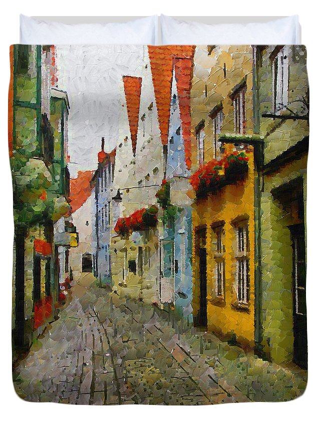 Digital Painting Duvet Cover featuring the painting A Stroll Through The Street by Mario Carini