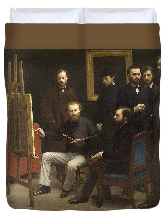 Collector Duvet Cover featuring the painting A Studio At Les Batignolles 1870 by Henri Fantin Latour