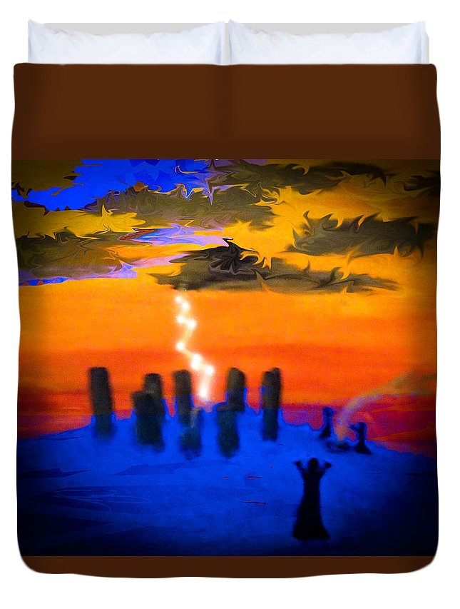 Summoning Duvet Cover featuring the mixed media A Summoning by Bhean Spiorad