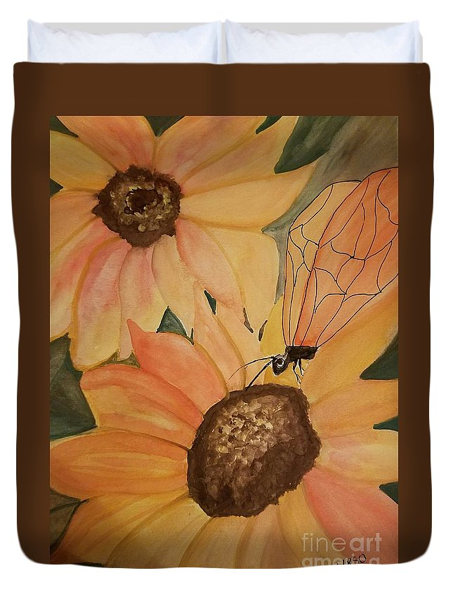 A Sunflower Surprise Duvet Cover featuring the painting A Sunflower Surprise by Maria Urso