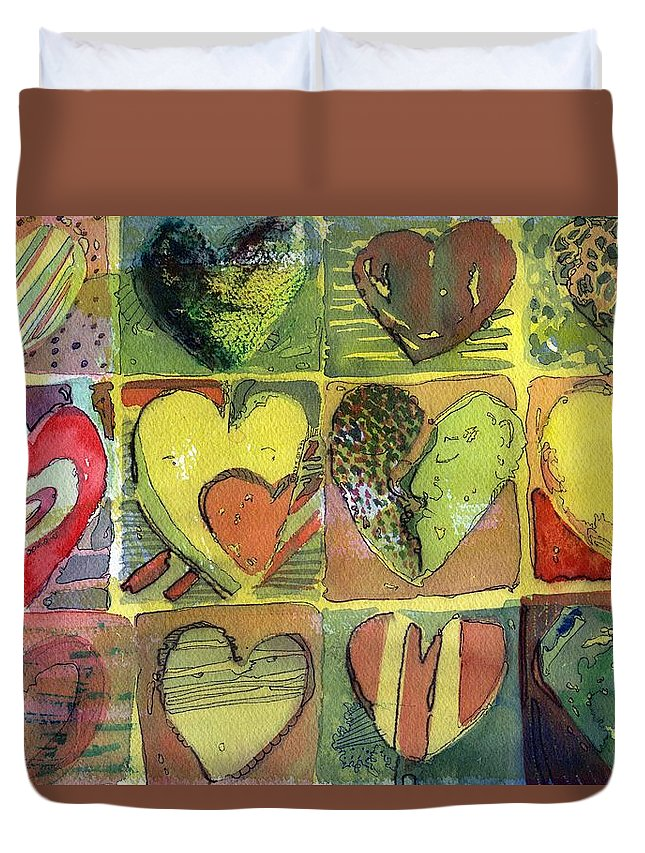 Valentine Duvet Cover featuring the painting A Sunny Valentine by Mindy Newman