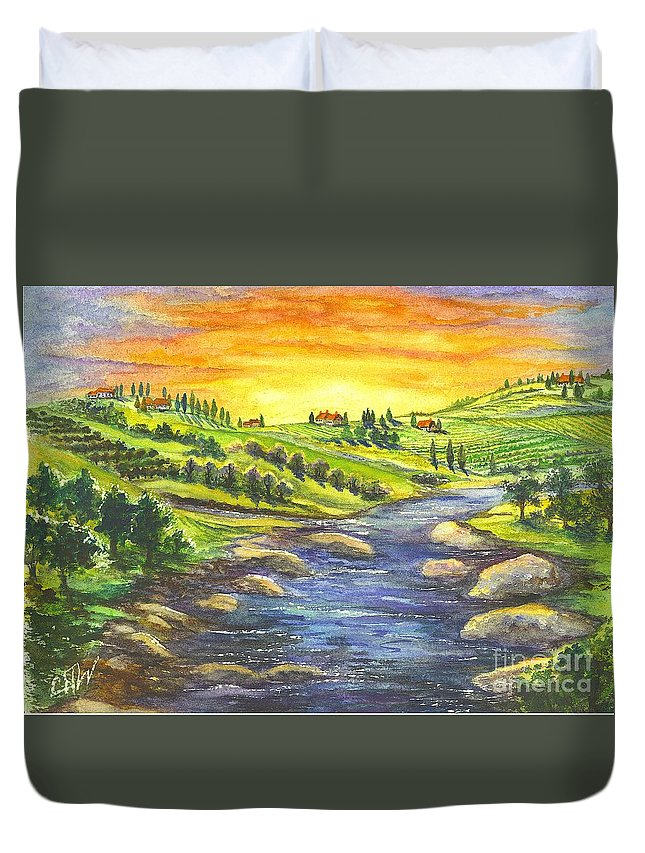 California Duvet Cover featuring the painting A Sunset In Wine Country by Carol Wisniewski