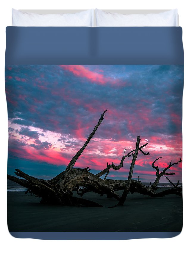 Duvet Cover featuring the photograph A Sunset On Jekyll by John Krivec