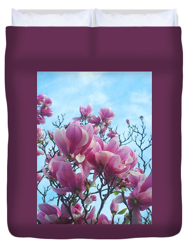 Magnolia Flowers Duvet Cover featuring the photograph A Symphony Of Magnolia Flowers by Andrea Freeman