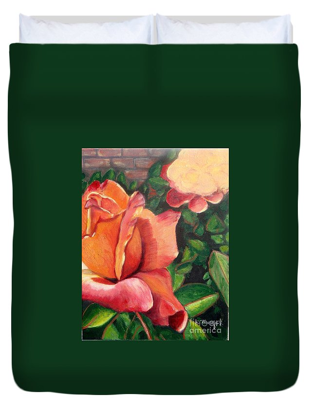 Rose Duvet Cover featuring the painting A Tale Of Two Roses by Laurie Morgan