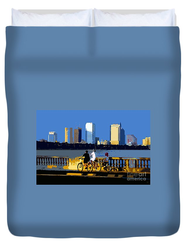 Tampa Bay Florida Duvet Cover featuring the painting A Tampa Bay Florida Summer by David Lee Thompson