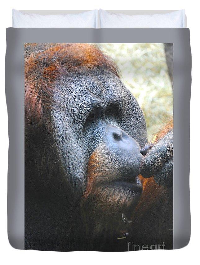 Orangutan Duvet Cover featuring the photograph A Tang Profile by Lana Raffensperger