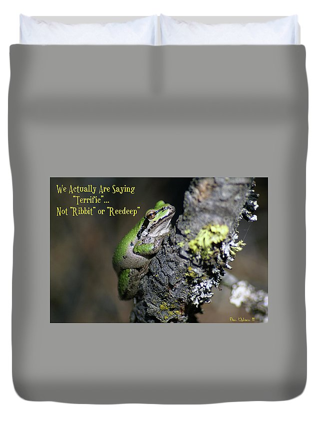 Frog Duvet Cover featuring the photograph A Terrific Frog #1 by Ben Upham III
