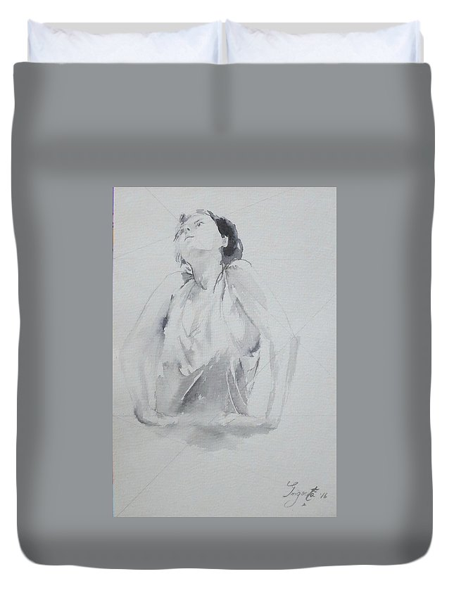 Portret Duvet Cover featuring the drawing A Thought That Rises by Grigorita Martina
