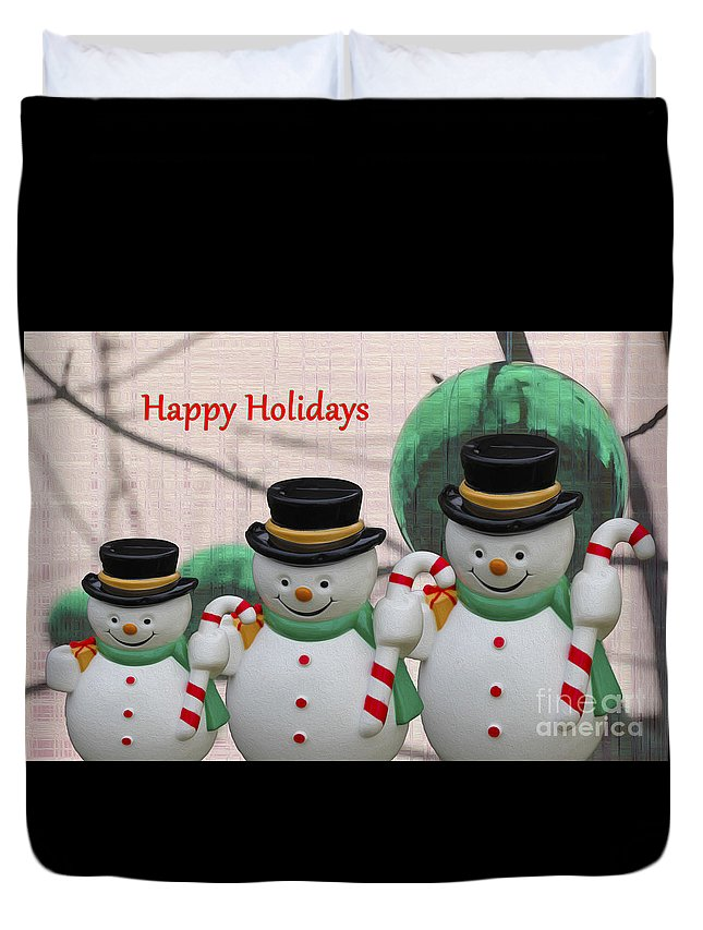 Greeting Cards Duvet Cover featuring the photograph A Three Snowman Holiday by Nina Silver
