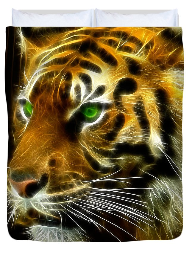 Bengal Duvet Cover featuring the photograph A Tiger's Stare by Ricky Barnard