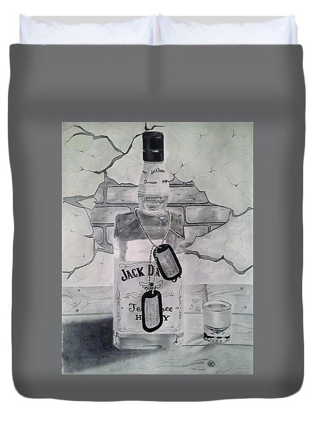 Toast Duvet Cover featuring the drawing A Toast by Nick Landry