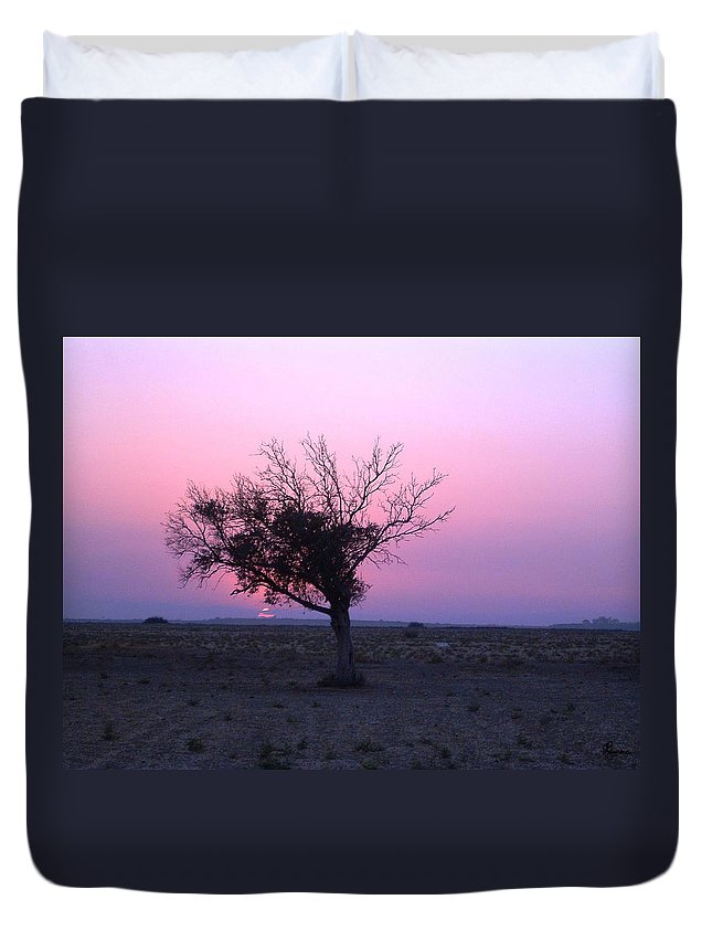 Lone Tree Sunset Purple Sky Desert Isolated Lonely Baron Land Duvet Cover featuring the photograph A Touch Of Alone by Andrea Lawrence