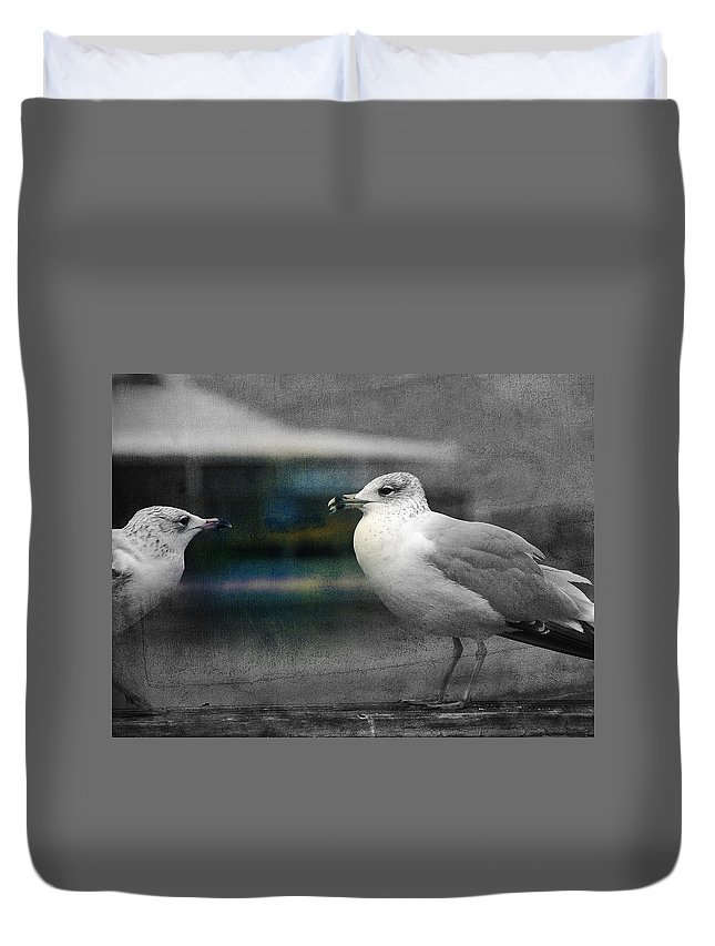 Two Seagulls Duvet Cover featuring the photograph A Touch Of Blue by Susanne Van Hulst