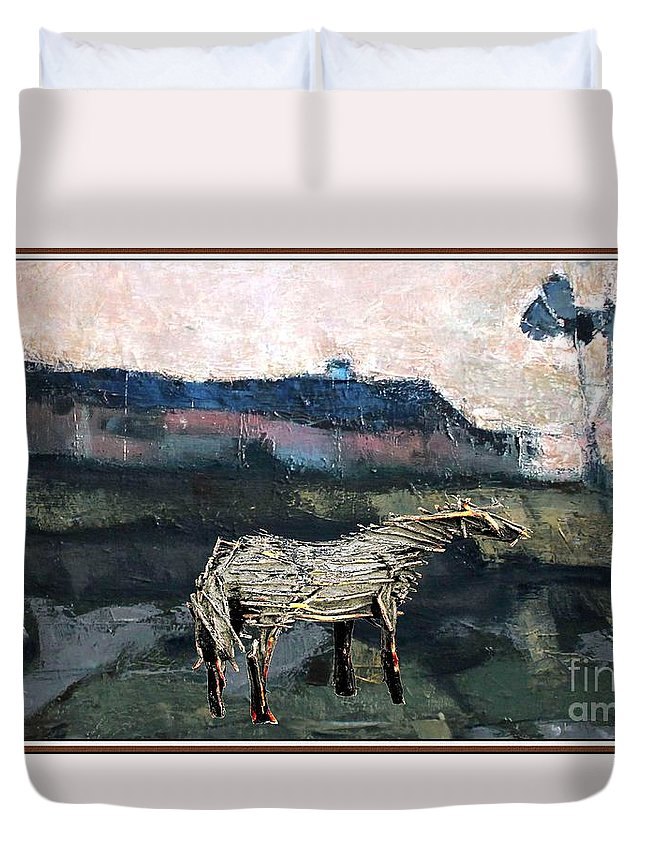 Modern Painting Duvet Cover featuring the mixed media A Tough Horse by Pemaro