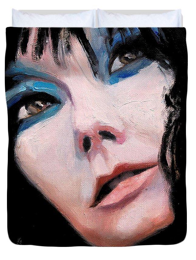 Bjork Duvet Cover featuring the painting A Treasure - Bjork Portrait by Khairzul MG