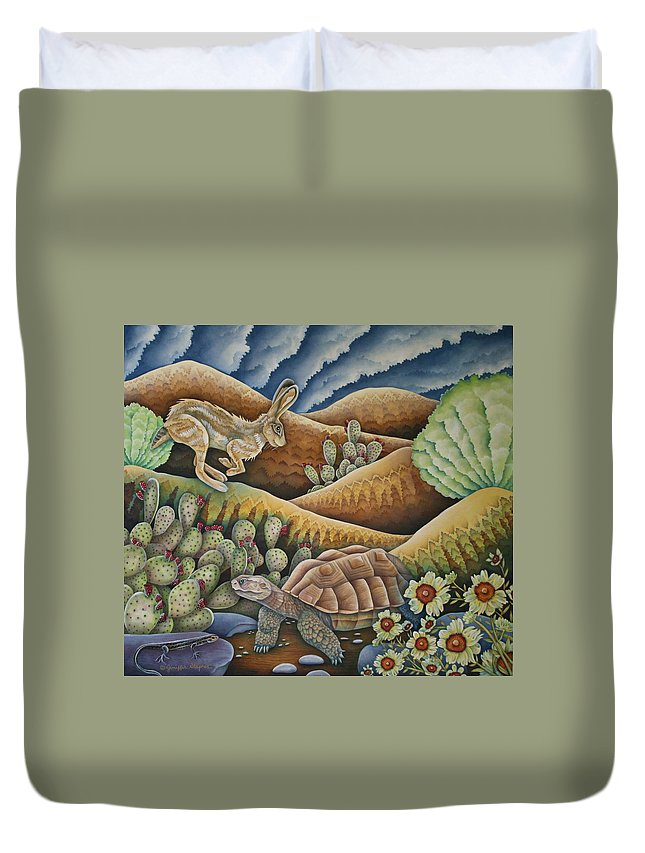 Aesop Duvet Cover featuring the painting A Tribute To Aesop by Jeniffer Stapher-Thomas