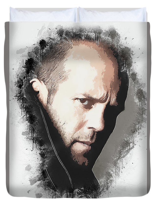 Movies Duvet Cover featuring the digital art A Tribute to JASON STATHAM by Dusan Naumovski