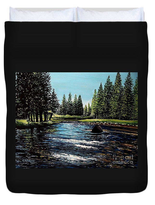 Landscape Duvet Cover featuring the painting A Trip To The Mountains by Elizabeth Robinette Tyndall