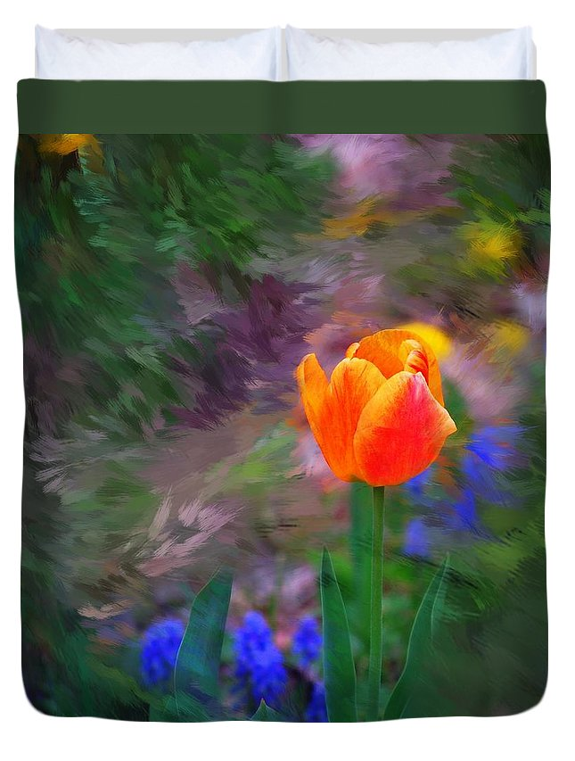 Floral Duvet Cover featuring the digital art A Tulip Stands Alone by David Lane