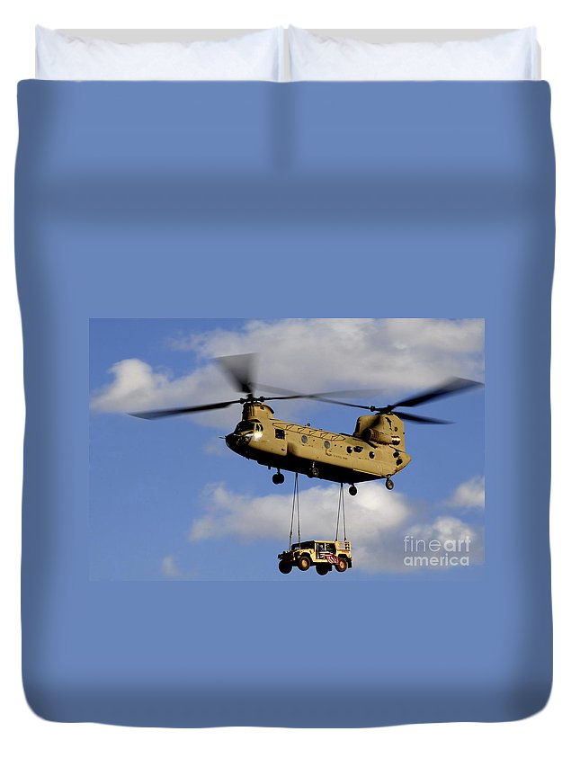 Afghanistan Duvet Cover featuring the photograph A U.s. Army Ch-47 Chinook Helicopter by Stocktrek Images