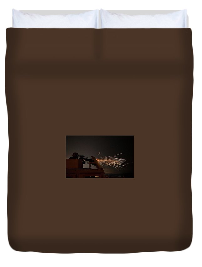 Military Duvet Cover featuring the painting A U.s. Army Reserve Military Police Soldier, Fires An M249 Squad Automatic Weapon by Celestial Images